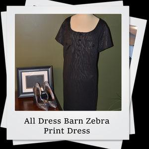 EUC | Dress Barn All Black Zebra Print Dress